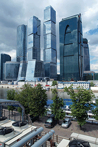 Moscow serves as an international business center for Russia.