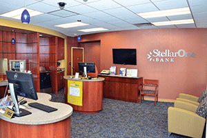 StellarOne's branch at Patterson and Libbie avenues in Richmond looks more like a small hotel lobby than a banking office.