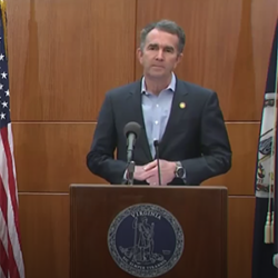 Gov. Ralph Northam speaks at an April 1 news briefing on the coronavirus.