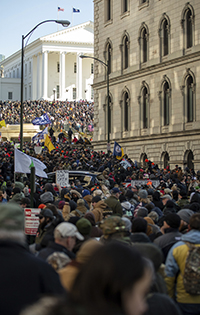About 22,000 gun rights protesters assembled at the State Capitol on Martin Luther King Jr. Day in January. Photo AP Images/Mike Morones