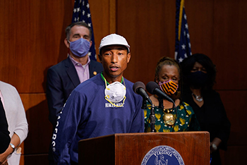 Pharrell Williams speaking during a June press conference announcing Gov. Ralph Northam's plans to make Juneteenth a state holiday. | Photo courtesy Gov. Ralph Northam's office