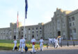 VMI cadets walking to class outside of the Old Barracks. Photo courtesy of VMI Communications & Marketing