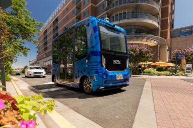 Dominion's autonomous electric EZ10 Relay shuttle debuted in Fairfax County in October 2020, ferrying passengers between the Dunn Loring Metro station and the Mosaic District.