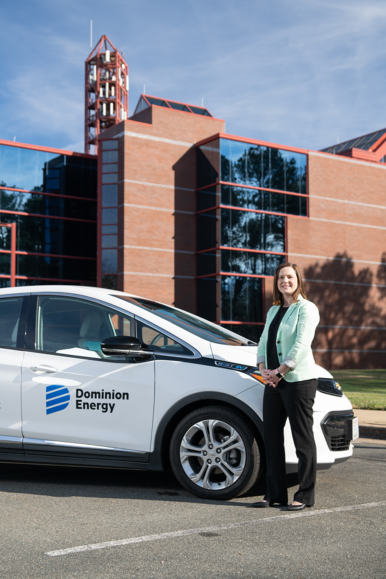 Kate Staples, Dominion Energy's manager of electrification, is working to spread the statewide adoption of electric vehicles such as this Dominion-branded car.